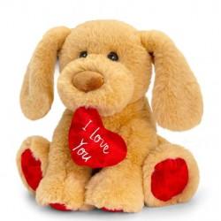 Plüss ülő kutya szívvel 25cm