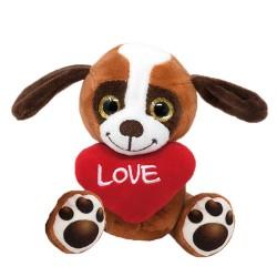 Plüss ülő kutya szívvel...
